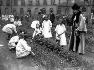 1. photo, kate shippen roosevelt, duryea lecture, world war one, children garden in france, public domain